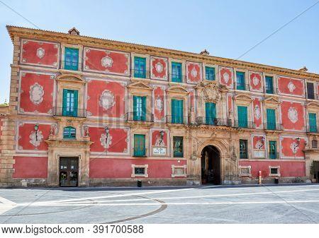Episcopal Palace On Cardinal Belluga Square, Murcia, Spain (inscription