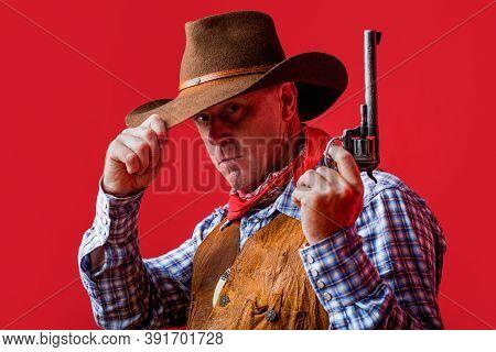 American Cowboy. Cowboy Wearing Hat. Western Life. Guy In Cowboy Hat. American Bandit In Mask, Weste