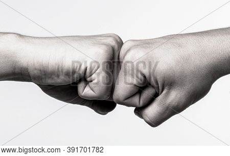 People Bumping Their Fists Together, Arms. Man Giving Fist Bump. Team Concept. Hands Of Man People F
