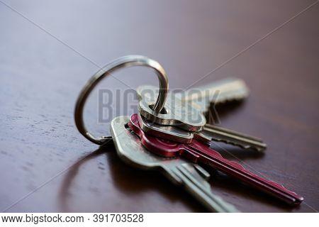 Set Of Four House Keys On A Keyring
