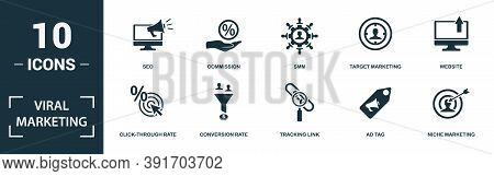 Viral Marketing Icon Set. Monochrome Sign Collection With Attribution, Lead, Bonus Program, Referral