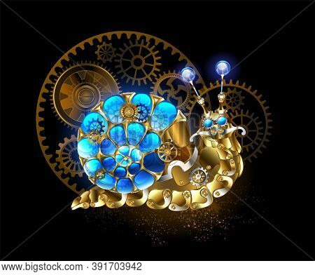 Mechanical Snail Made Of Brass, Metal Parts With  Luminous, Blue, Spiral Shell, Decorated With Gears