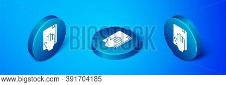 Isometric Oath On The Holy Bible Icon Isolated On Blue Background. The Procedure In Court. Truth And