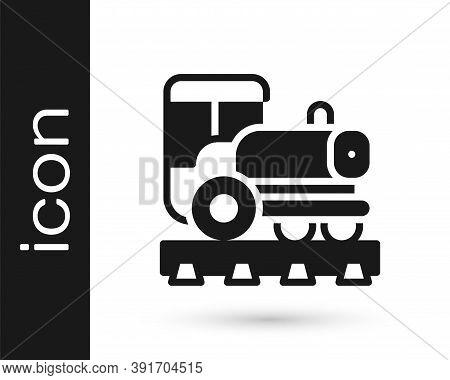 Black Vintage Locomotive Icon Isolated On White Background. Steam Locomotive. Vector