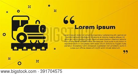Black Vintage Locomotive Icon Isolated On Yellow Background. Steam Locomotive. Vector