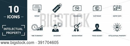 Intellectual Property Icon Set. Monochrome Sign Collection With Patent, Brand, Trademark, Copyright