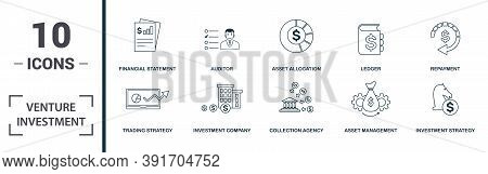 Venture Investment Icon Set. Monochrome Sign Collection With Contribution, Bootstrapping, Regression