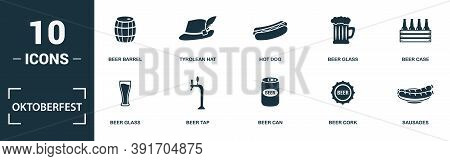 Oktoberfest Icon Set. Monochrome Sign Collection With Beer Barrel, Burger, Hot Dog, Beer Glass And O