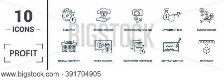 Profit Icon Set. Monochrome Sign Collection With Affiliate Marketing, Referral Marketing, Sponsor, D