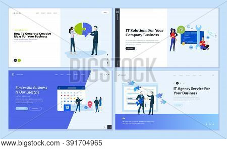 Set Of Website Template Designs Of It Solutions, Consulting, Startup, Business Apps. Vector Illustra