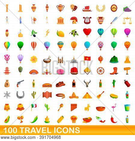 100 Travel Icons Set. Cartoon Illustration Of 100 Travel Icons Vector Set Isolated On White Backgrou