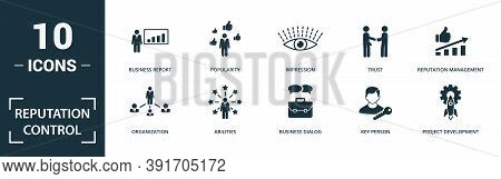 Reputation Control Icon Set. Monochrome Sign Collection With Company Meeting, Lead Management, Oppor