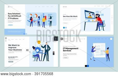 Set Of Website Template Designs Of It Management, Video Call, Business Strategy, Business Analysis A