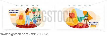Woman Making Comfort In Her House. Cozy Home Vector Concept Illustration. Beanbag Puff Chair, Cozy R