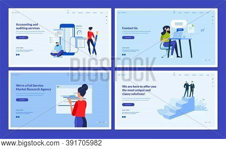 Set Of Website Template Designs Of Accounting And Auditing, Market Research, Consulting, Contact Us