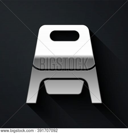 Silver Baby Potty Icon Isolated On Black Background. Chamber Pot. Long Shadow Style. Vector