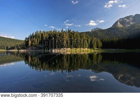 Beautiful Black Lake,durmitor Mountain National Park At Montenegro