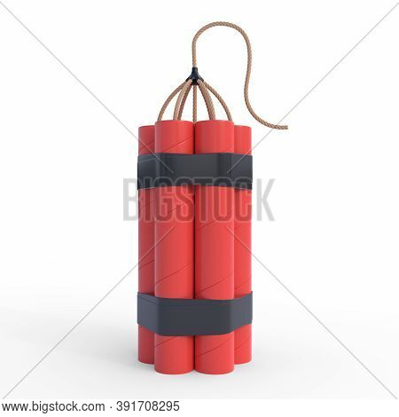 Bundle Of Red Dynamite Sticks, Tnt With Wick Isolated On White Background. Explosive Supplies. 3d Re