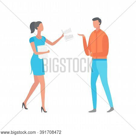 Woman Giving Paper With Notes To Man Isolated Cartoon Characters. Businesswoman And Manager Discussi