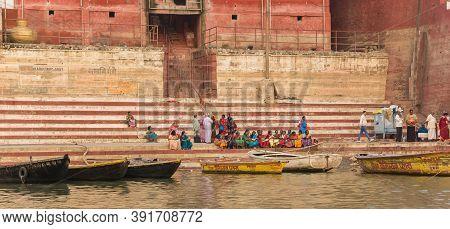 Varanasi, India - November 07, 2019: Panorama Of The Historic Shankaracharya Ghat At The Ganges Rive