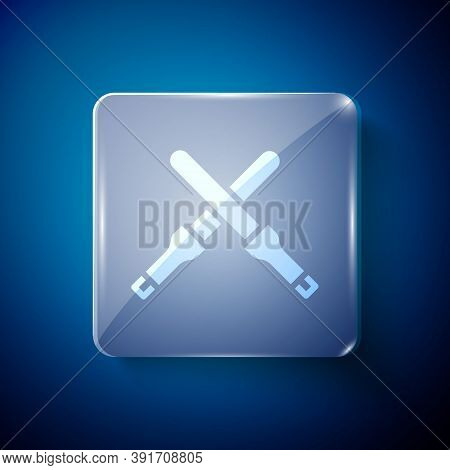White Marshalling Wands For The Aircraft Icon Isolated On Blue Background. Marshaller Communicated W