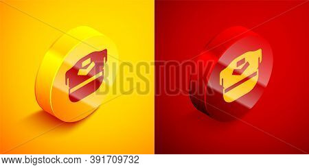 Isometric Pilot Hat Icon Isolated On Orange And Red Background. Circle Button. Vector