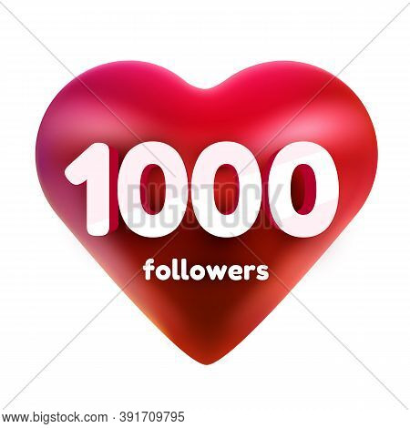 Followers Thank You. Red Heart For Social Network Friends, Followers, Web User Thank You Celebrate O