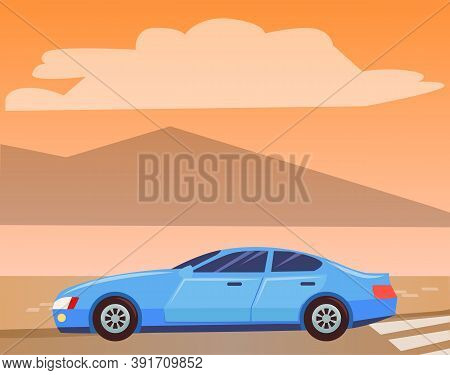 Blue Small Car, Sedan On Road. Vehicle Rides In Countryside. Automobile To Drive And Get Your Destin
