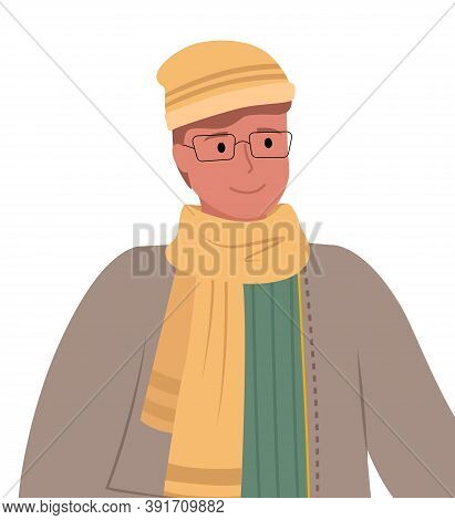 Man Wearing Warm Clothes And Glasses, Isolated Character With Modest Expression On Face. Person Stan