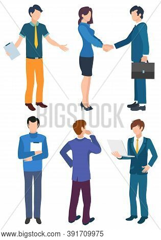 People At Meeting Vector, Isolated Characters Handshakes. Lady And Businessmen Agreeing On Contract