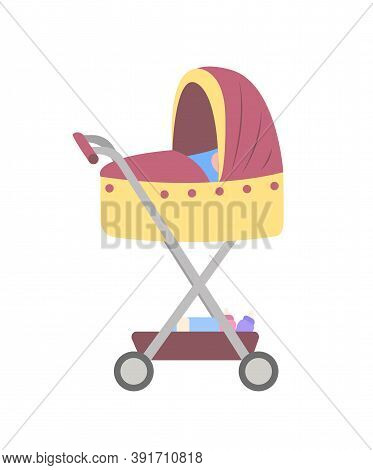 Pram For Newborn Kids, Vector Stroller With Baby Boy. Necessary Things For Childcare Beneath The Cri