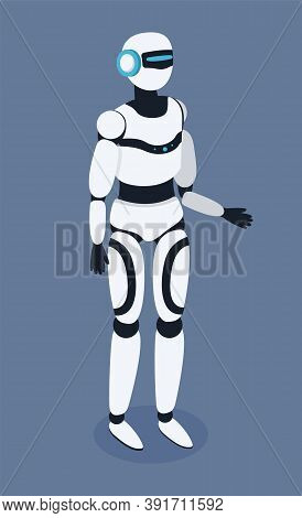 White Robot Vector Illustration Standing Full Length Gray Background. Science Machine In Human Body