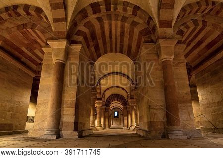 Interior Of Cathedral In Speyer, Germany. Officially Called The Imperial Cathedral Basilica Of The A