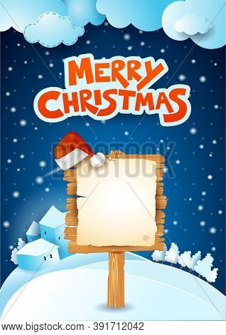 Christmas Signboard And Text On Snowy Background. Vector Illustration Eps10