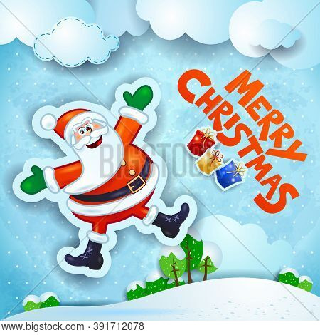Christmas Snowy Landscape With Happy Santa And Text. Vector Illustration Eps10