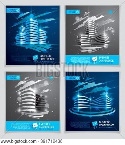 Futuristic Buildings Ads Set, Modern Vector Architecture Brochures With Blurred Lights Effect. Real