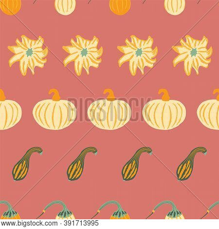 Fall Pumpkins Seamless Pattern. Hand-drawn Pumpkins Of Different Shapes On A Dusty Rose Background,