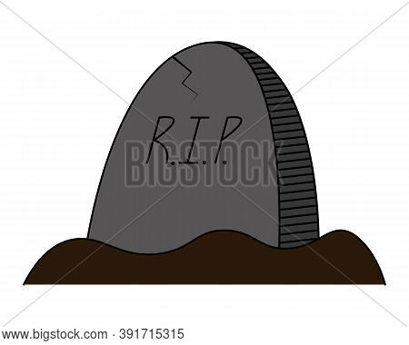 Headstone. Crack on the slab. Colored vector illustration. Halloween symbol. Isolated white background. Gloomy grave in the cemetery. Inscription - Rest in Peace. Monument made of granite. Decoration for All Saints Day. Cartoon style. Idea for web design.