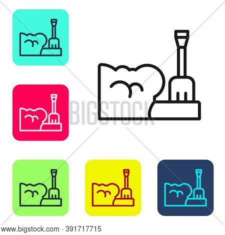 Black Line Shovel In Snowdrift Icon Isolated On White Background. Set Icons In Color Square Buttons.
