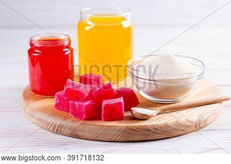 Products (collagen Powder, Gelatin) Which Contain Collagen. Colored Gelatin Or Marmalade. Collagen P