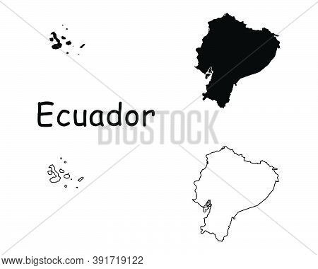 Ecuador Country Map. Black Silhouette And Outline Isolated On White Background. Eps Vector