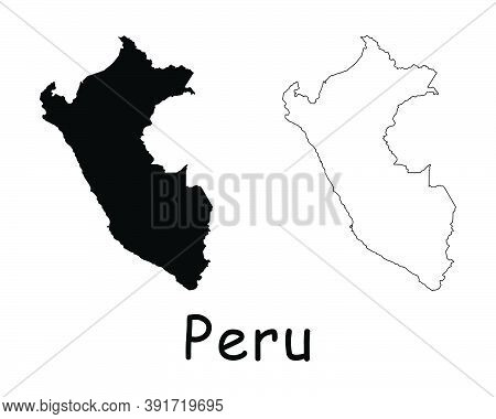 Peru Country Map. Black Silhouette And Outline Isolated On White Background. Eps Vector