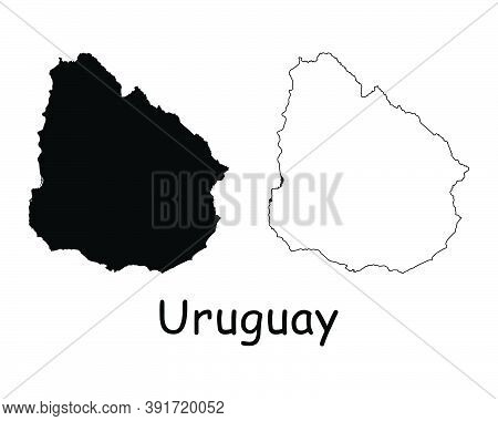 Uruguay Country Map. Black Silhouette And Outline Isolated On White Background. Eps Vector