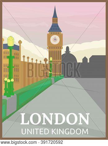 Illustration Vector Design Of Retro And Vintage Travel Poster Of Big Ben, London, United Kingdom