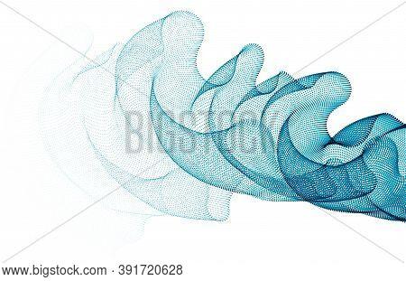 3d Particles Mesh Array, Transparent Tulle Textile On Wind Flowing. Round Points Vector Effect Illus