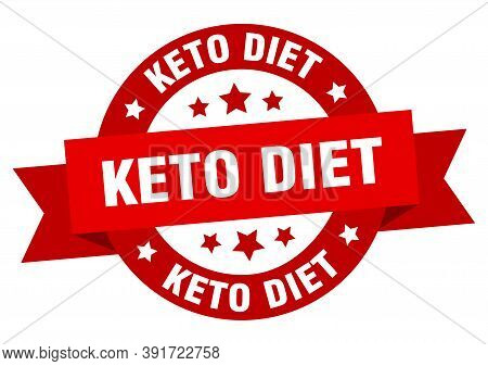 Keto Diet Round Ribbon Isolated Label. Keto Diet Sign