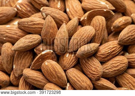 Background Of Big Raw Peeled Almonds, Macro Shot Of Organic Fresh Tasty Nuts, Natural Delicious Snac