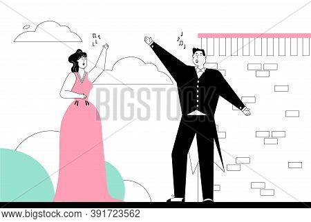 Opera Actor And Actress In Classic Costumes Singing Aria