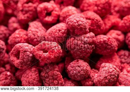 Macro Shot Of Freeze Dried Organic Raspberries, Raw Delicious Snack, Cooking Baking Ingredients. Red