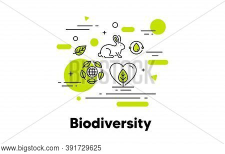 Biodiversity Line Icon. Save Natural Ecosystem Illustration. Ecology Environment, Water Recycle, Ani